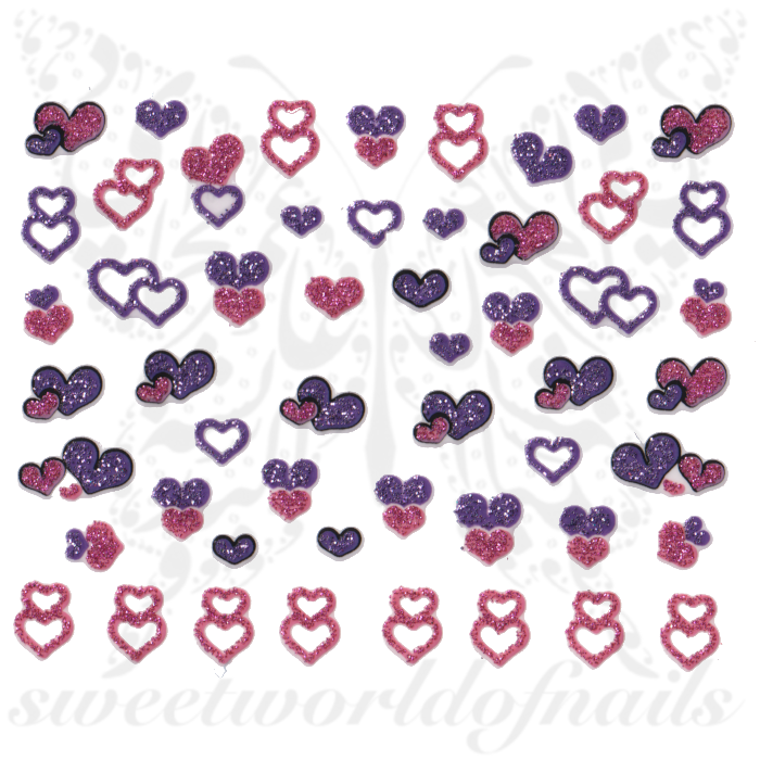 Valentine´s Day Nail Stickers Purple Pink Glittery Hearts