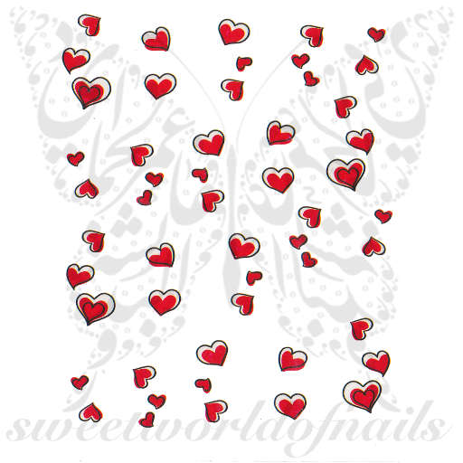 Valentine's Day Nail Art Red Hearts Nail Water Decals Wraps
