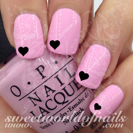 Valentine's Day Nail Art Black Mini Hearts Nail Water Decals Water Slides