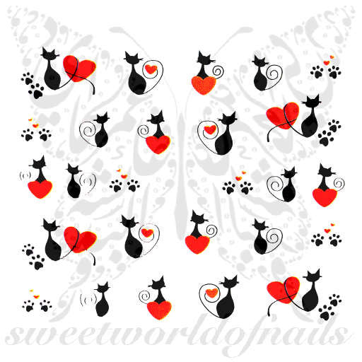 Valentine's Day Nail Art Red Heart Black Cat Nail Water Decals