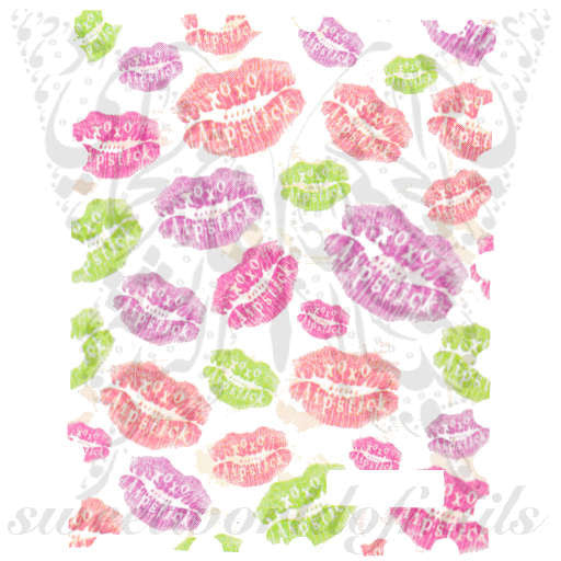 Valentines Day Nail Art Kisses And Lips Nail Water Decals Water Slide