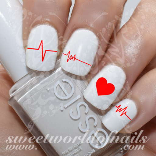 - Valentine's Day Nail Art Heart Rate Line Nail Water Decals