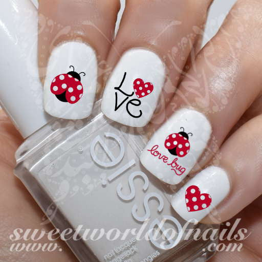 Valentine S Day Nail Art Ladybug Ladybird Love Bug Red Hearts Water Decals