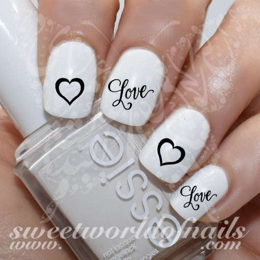 Valentine's Day Nail Art Love Word Black Heart Nail Water Decals Water Slides