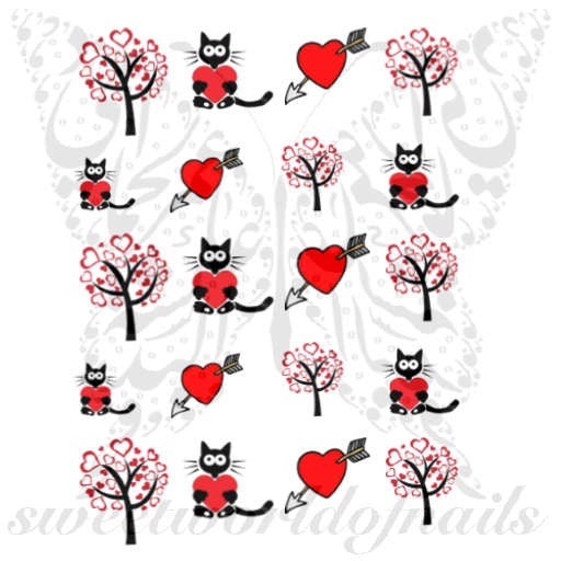 Valentine's Day Nail Art Red Hearts Cat Tree Nail Water Decals Water Slides