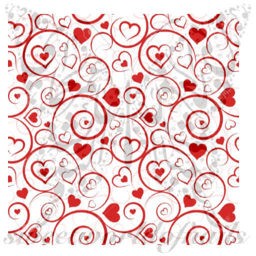 Valentine's Day Nail Art Red Hearts and Swirls Nail Water Decals Water Slides