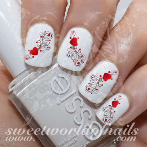 Valentine's Day Nail Art Hearts and Swirls Nail water decals Transfers Wraps