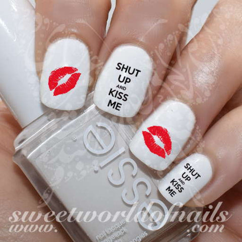 Valentine's Day Nail Art Shut up and Kiss Me Red Lips Nail Water Decals