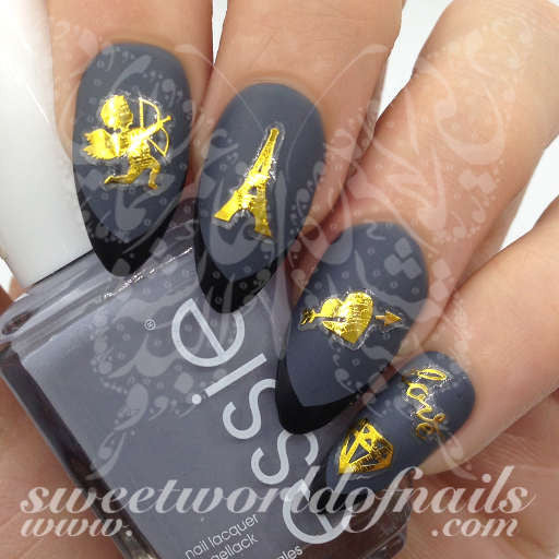 Nail stickers valentines day nail art stickers gold eiffel tower cupid heart love diamond prinsesfo Images