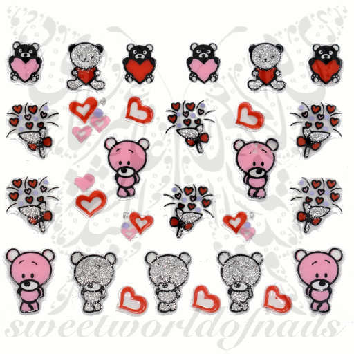 Valentine's Day Nail Art Glittery Teddy Bear Flowers Heart Nail Stickers
