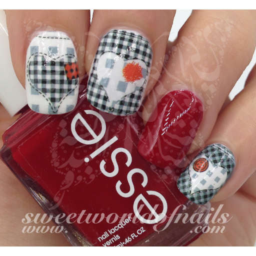 Valentines Day Nail Art Water Decals White And Black Checkered Heart