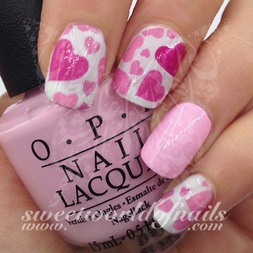 Valentines Day Nail Art Water Full Wraps Pink And Hot Pink Hearts