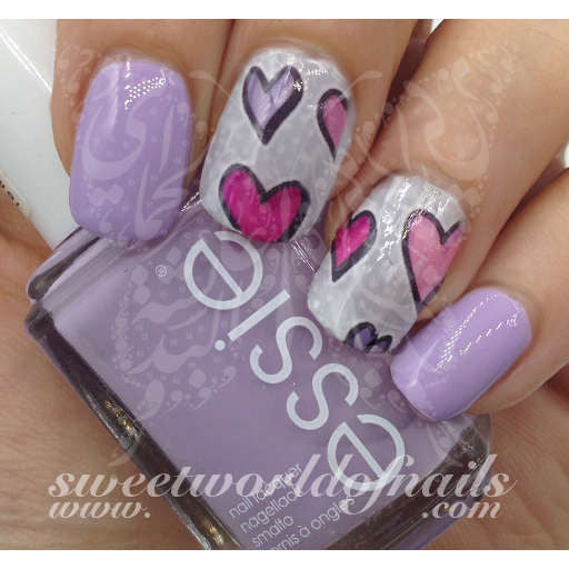 Valentine S Day Nail Art Water Slides Purple And Pink Hearts Water Dec