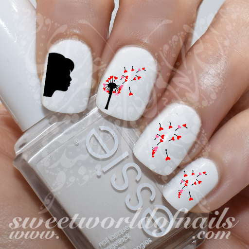 Valentine's Day Nail Art Woman Blowing Hearts Nail Water Decals Water Slides
