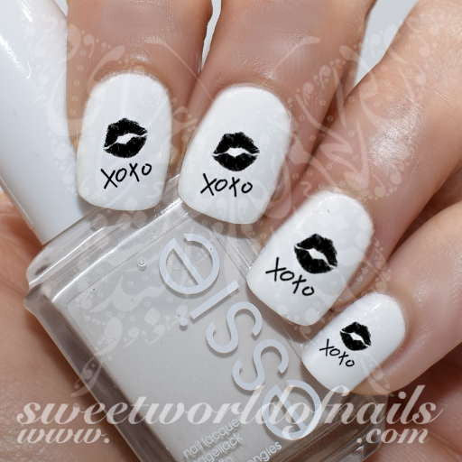 Valentine's Day Nail Art XOXO Black Lips Nail Water Decals Water Slides