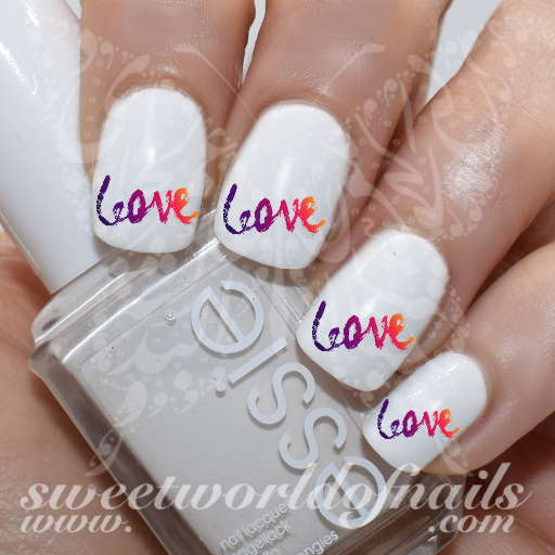 Valentine's day Nail Art Love Word water Decals