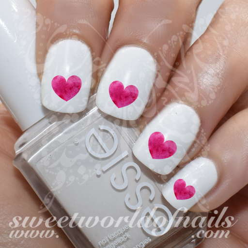 Valentine's day Nail Art Watercolor Pink Heart water Decals