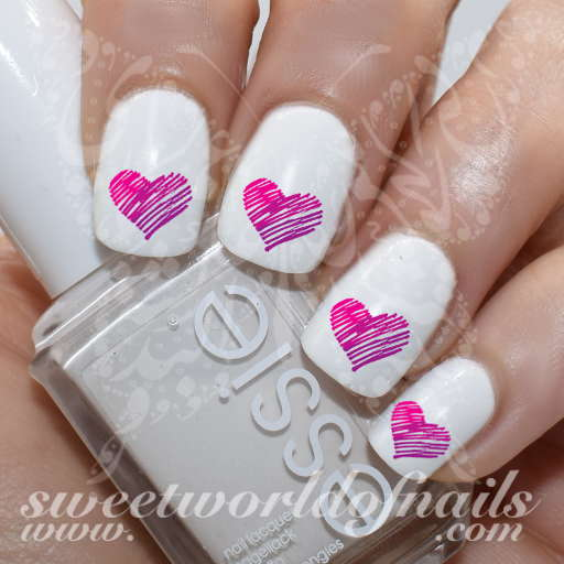 Valentine's day Nail Art Purple Pink Heart water Decals