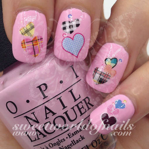 Valentine's Day Nail Art Checkered Hearts Nail Water Decals Wraps