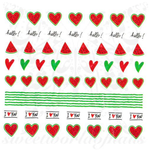 Watermelon hearts Summer Nails Water Decals