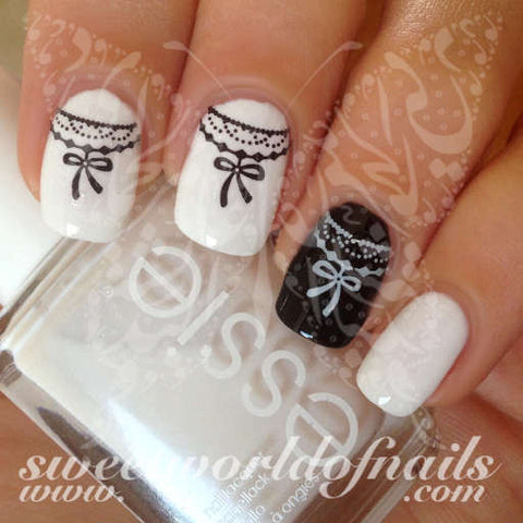 Black and White Ribbon Bow Nail Art Nail Water Decals Water Slides