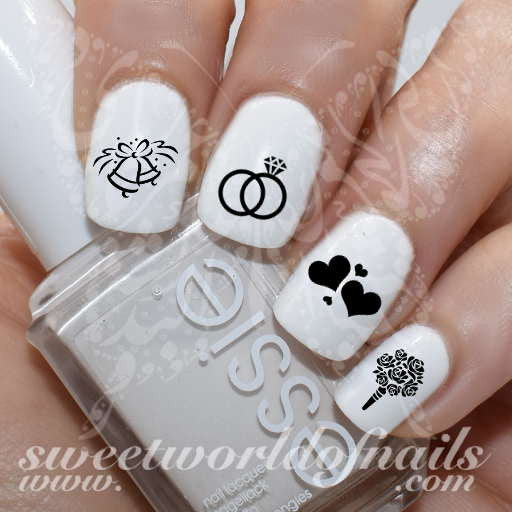 Wedding Nail Art Bells Rings And Flowers Nail Water Decals