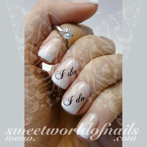 Wedding Nail Art I do Bride Nail Water Decals Water Slides