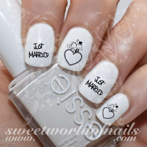 Wedding Nail Art Just Married Nail Water Decals Transfers Wraps