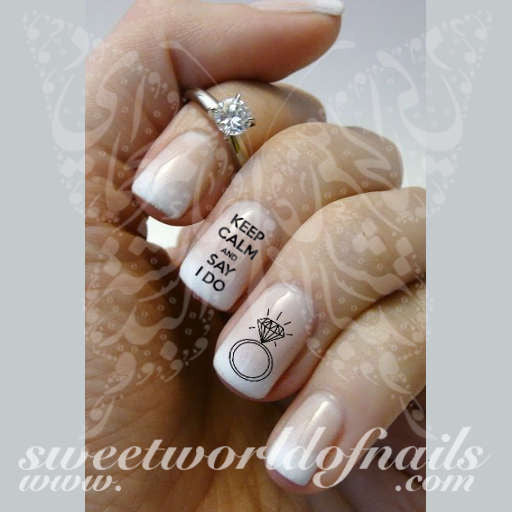 Wedding Nail Art Keep Calm and Say I do Bride Ring Nail Water Decals Water Slides