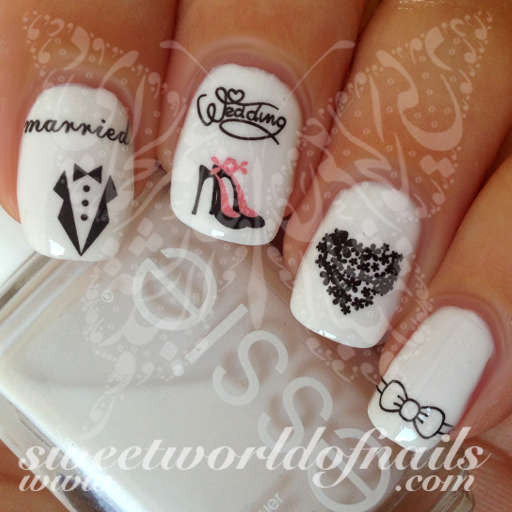 Wedding nail art married tuxedo high heels heart bow nail water decals wedding nail art married tuxedo high heels heart bow nail water decals water slides prinsesfo Image collections