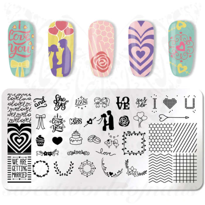 Wedding Stamping Plate Romantic Nail Art