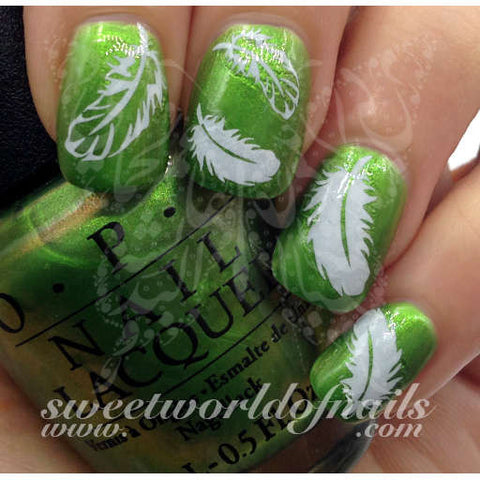 Feather Nail Art White Feather Water Decals Water Slides