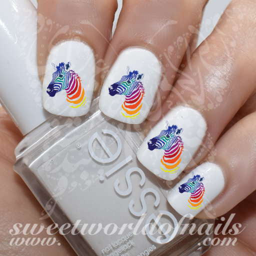 Zebra Nail Art Colorful Rainbow Zebra Nail Water Decals Water Slides