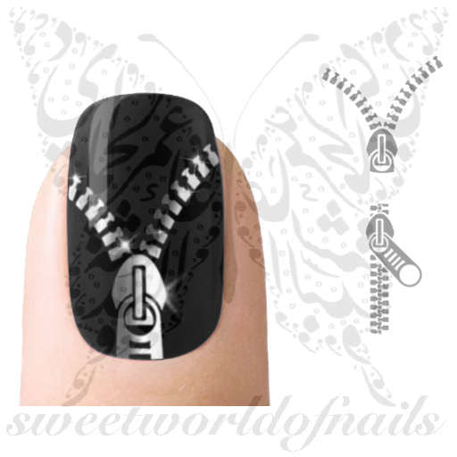 Silver Zippers Nail Art Nail Water Decals Water Slides