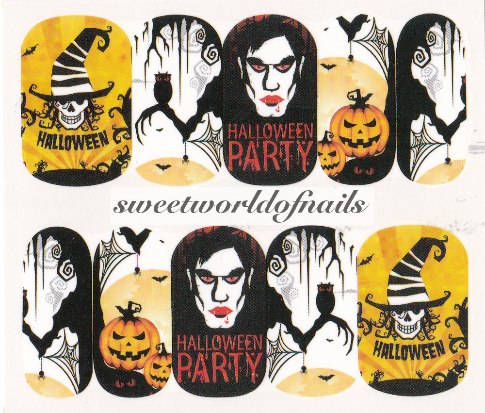 Halloween Party Scary Owl Vampire Pumpkin Nail Water Wraps