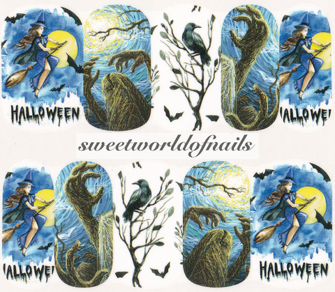 Halloween Nail Art Witch Raven Water Wraps