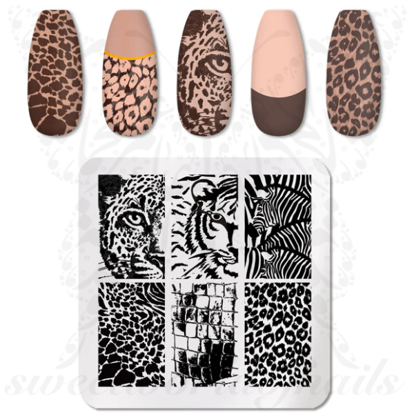 Animal Print Nail Art Stamping Plate Tiger Nails
