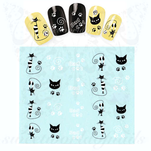 White Black Cat Nails Paws Water Decals