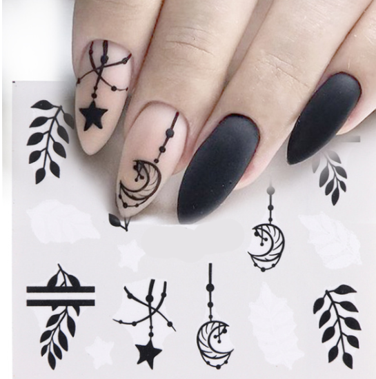 Black White  moon star Leaves Nail Water Decals