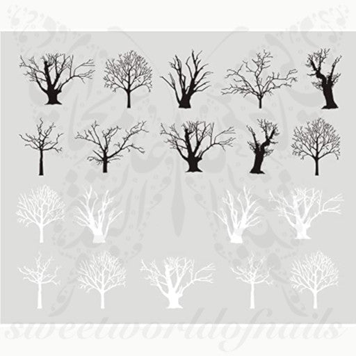 White Black Winter Tree Nail Water Decals