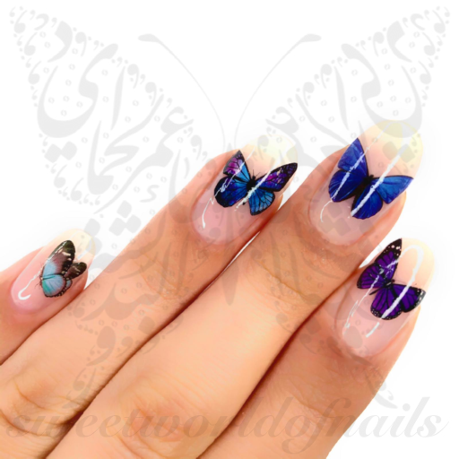 Blue Purple Butterfly Nail Art Water Decals