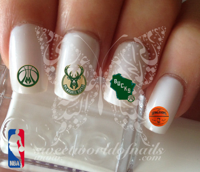 Milwaukee Bucks NBA Basketball Nail Art Water Decals Nail Transfers Wraps