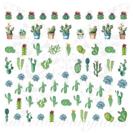 Cactus Nail Art Nail Water Decals