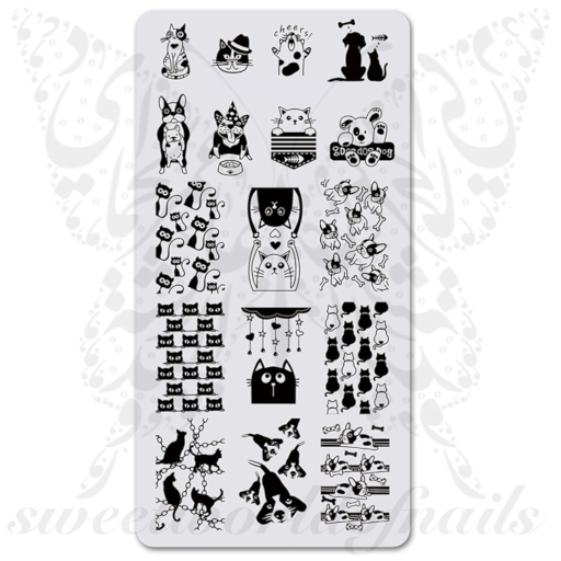 Cats and dogs Nail Art Stamping Plate