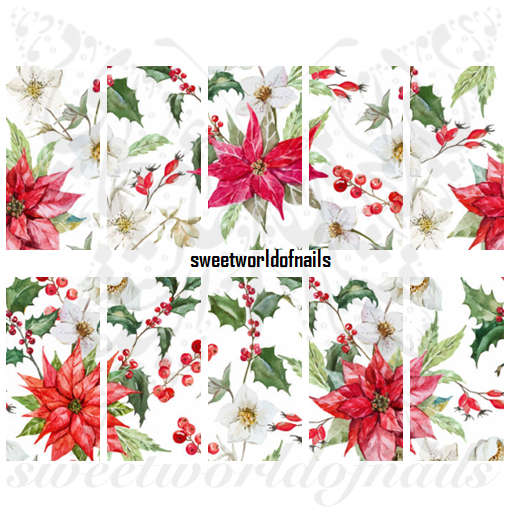 Christmas Nail Art Flower Poinsettia Full Water Wraps