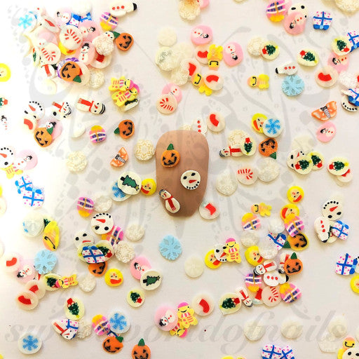 Christmas Halloween polymer clay cane Fimo slices Nail Art