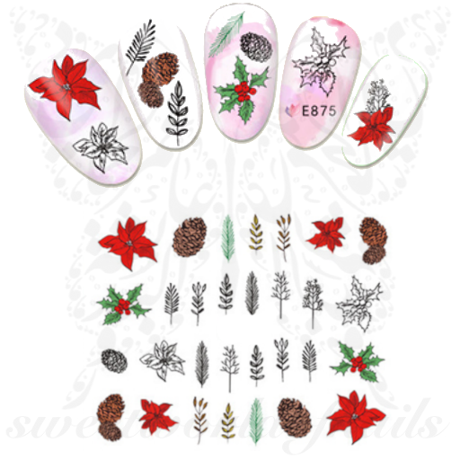 Christmas Nails Poinsettia Leaves Stickers