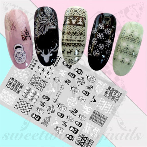Christmas Nails Matryoshka doll Nail Stickers