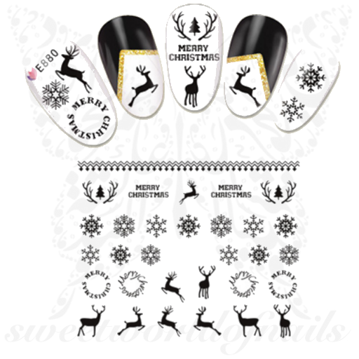Christmas Nails Black Reindeer and snowflakes Stickers
