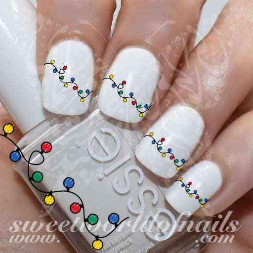 Christmas Nail Art Christmas Lights Bulbs Nail Water Decals